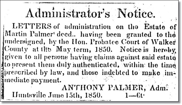 Administrator's Notice Estate of Martin Parmer