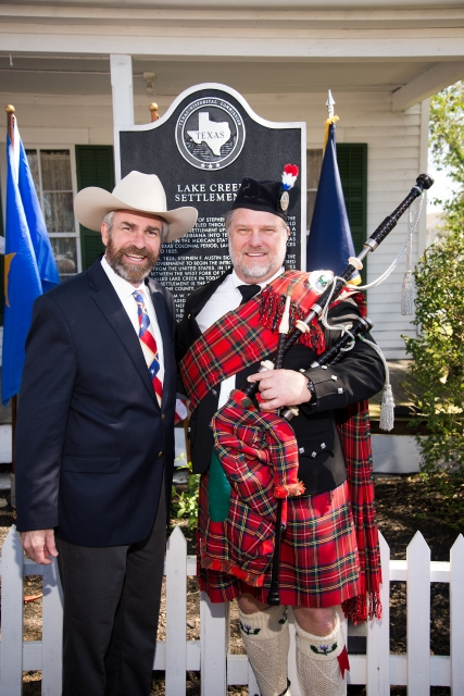 Marker historian, Kameron Searle, and life long friend, Ken Stephenson, who played the bagpipes for the dedication ceremony.