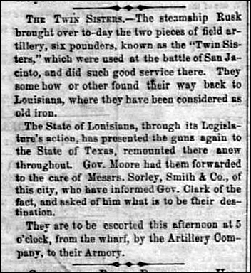1861 The Twin Sister Arrive in Galveston Back From Louisiana