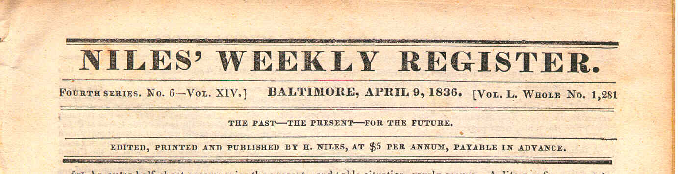 Niles Weekly Register - April 9, 1836